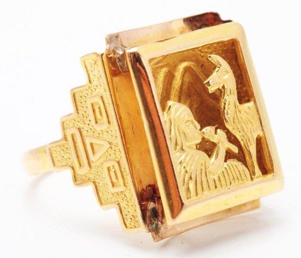 517: 18k Yellow Gold Ladies Ring.