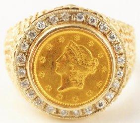 518: 14k Yellow Gold Coin & Diamond Ring.