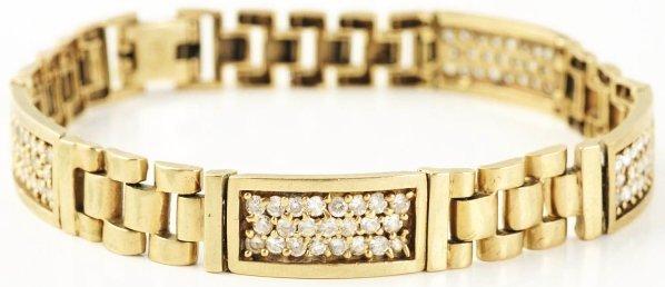 520: 10k Yellow Gold Men's Cubic Zirconia Bracelet.