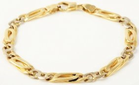 521: 14k Yellow & White Gold Bracelet.