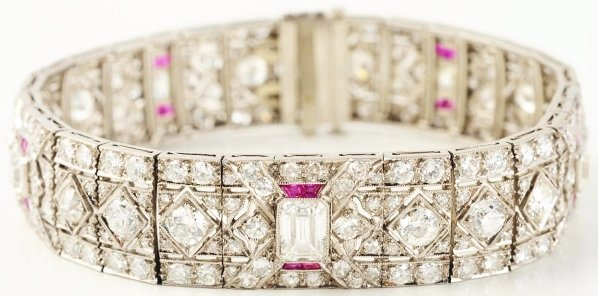 529: Platinum Diamond & Ruby Bracelet.