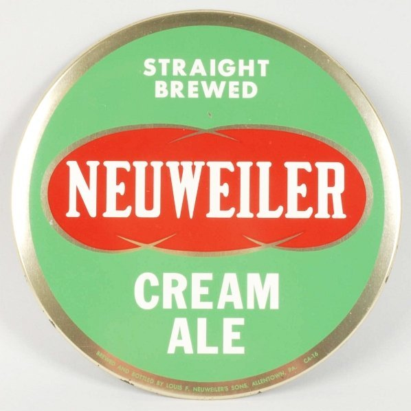 Neuweiler Cream Ale Tin over Cardboard Sign.