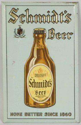 Blue Schmidt's Tin Over Cardboard Beer Sign.