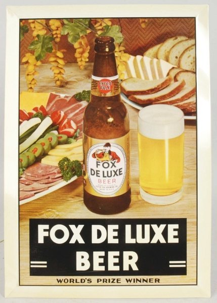 Fox Deluxe Beer Tin over Cardboard Sign.