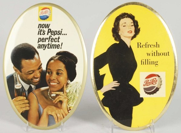 Lot of 2: Tin Over Cardboard Oval Pepsi Signs.