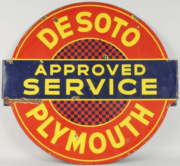 Desoto & Plymouth Porcelain 2-Sided Service Sign.