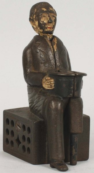 Cast Iron Peg Leg Begger Mechanical Bank.