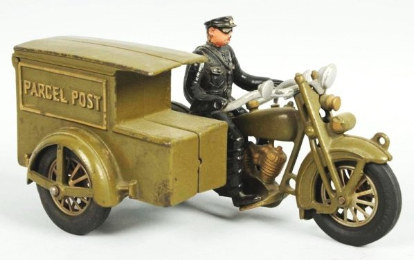 Cast Iron Hubley Parcel Post Motorcycle Toy.