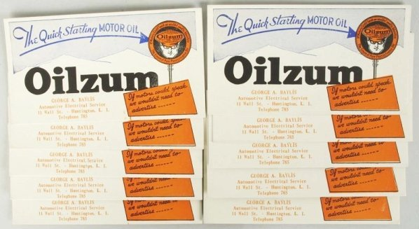 Lot of 10: Oilzum Ink Blotters.