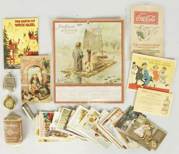 Trade Cards, 1900 Hancock Calendar, & Others.