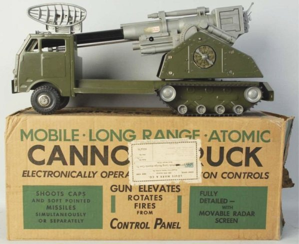 Pressed Steel Marx Atomic Cannon Truck Toy.