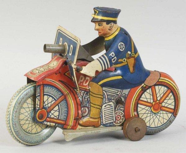 Tin Litho Marx Wind-Up Police Motorcycle Toy.