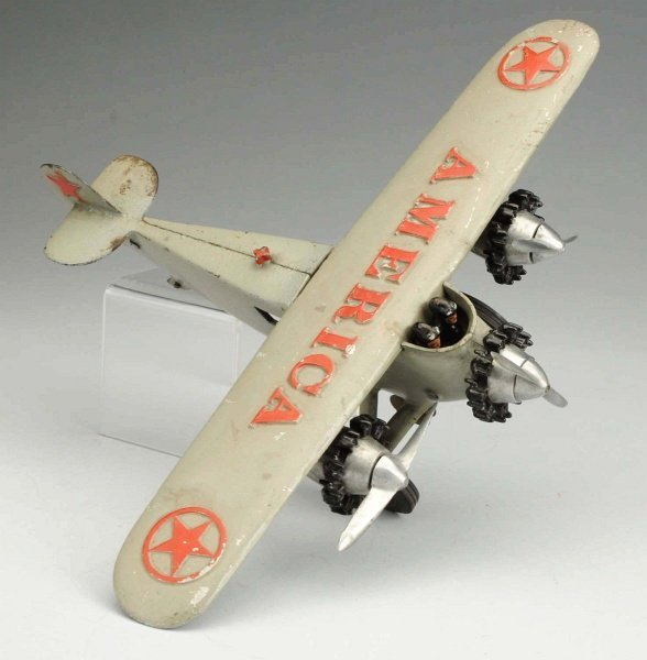 Cast Iron Hubley America Airplane Toy.