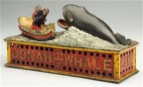 Cast Iron Jonah  the Whale Mechanical Bank