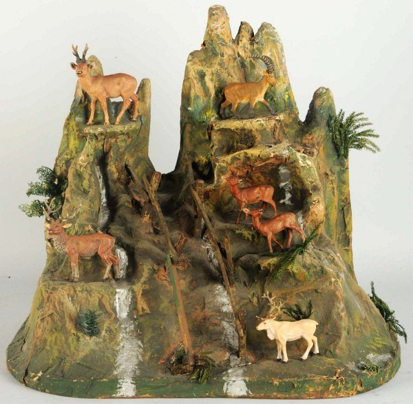 Elastolin Paper Mache Mountain with Animals.