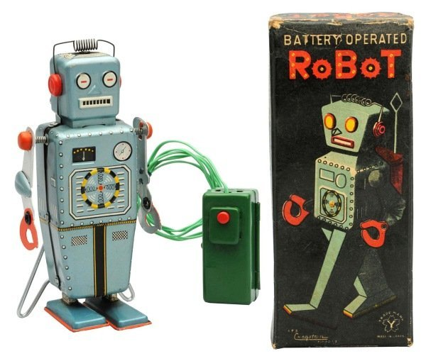 Tin Litho Battery-Operated Easel-Back Robot.