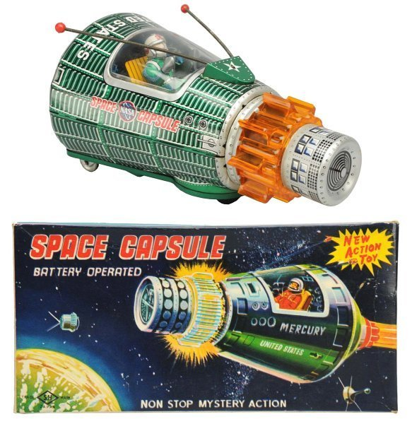 Tin Litho Battery-Op Space Capsule with Smoke.