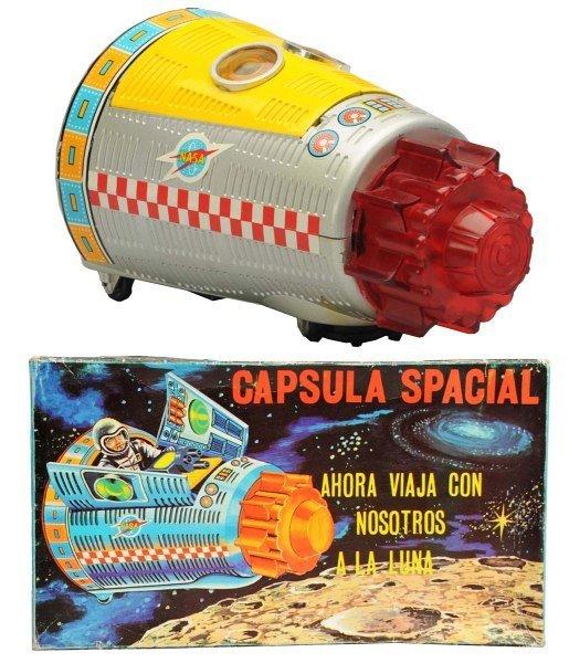 Plastic & Tin Litho Battery-Op Capsula Spacial.