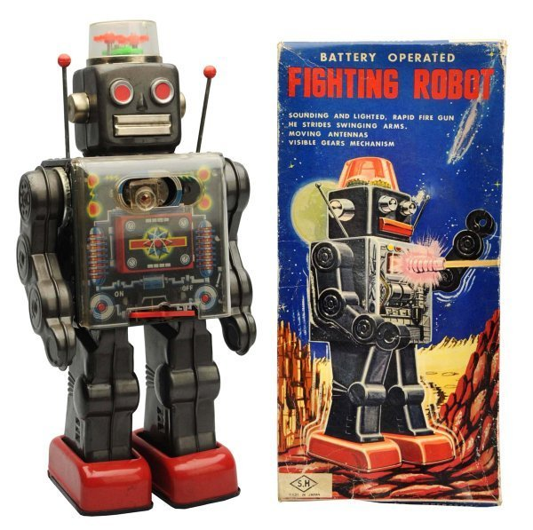 Tin Litho Painted Battery-Operated Fighting Robot