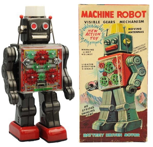 Tin Litho & Painted Battery-Op Machine Robot.