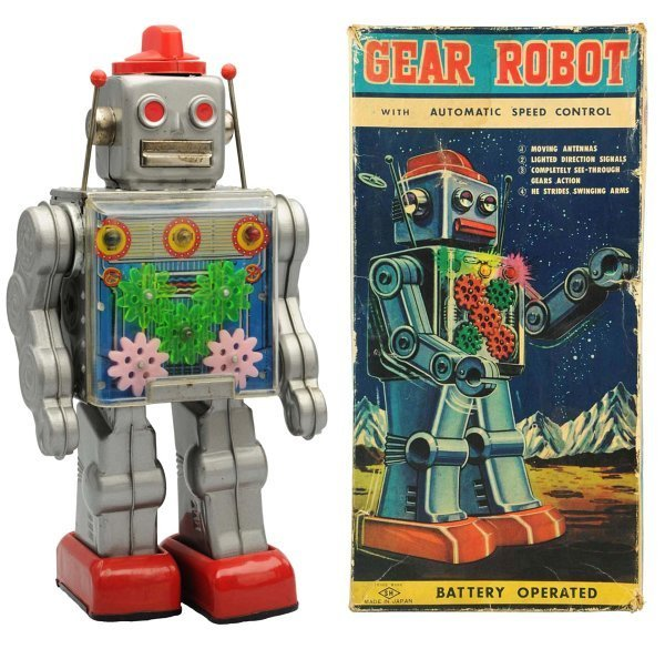 Tin Litho Battery-Operated Gear Robot.