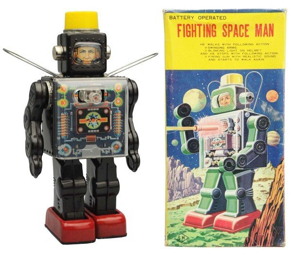 Tin Litho & Painted Battery-Op Fighting Spaceman.