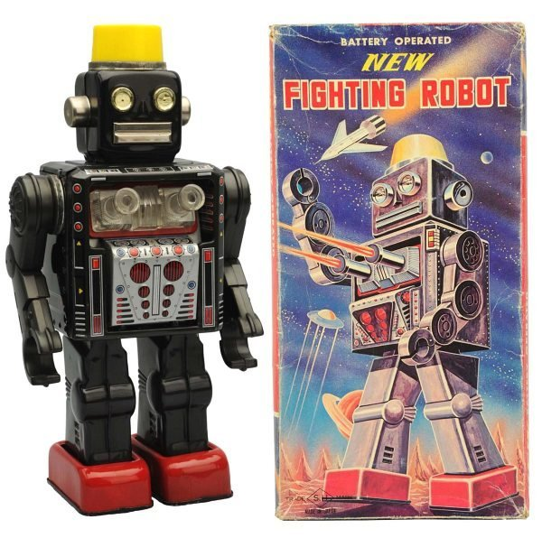 Tin Litho Battery-Operated New Fighting Robot.
