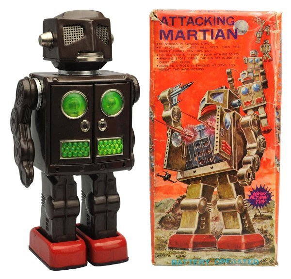 Tin Painted Battery-Operated Attacking Martian.