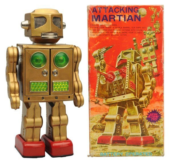 Tin Litho Battery-Operated Attacking Martian.