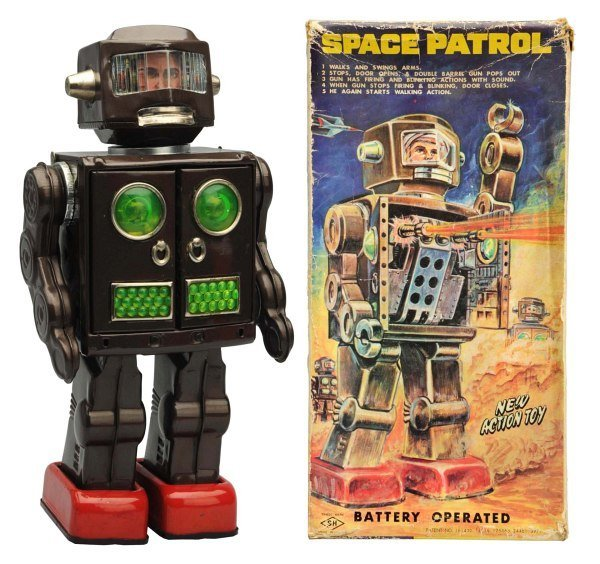 Tin Litho & Painted Battery-Operated Space Patrol