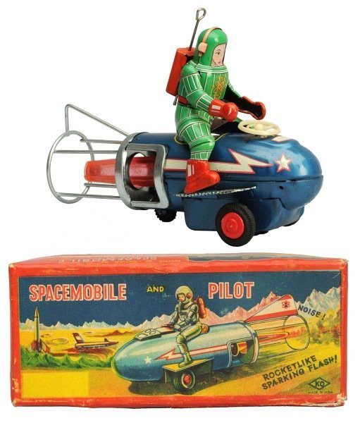 Tin Litho Friction Spacemobile & Pilot.