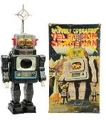 Tin Litho  Painted Television Spaceman