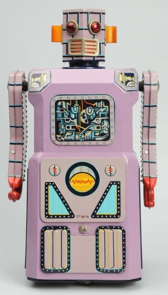 Tin Litho Lavender Battery-Operated Robot.