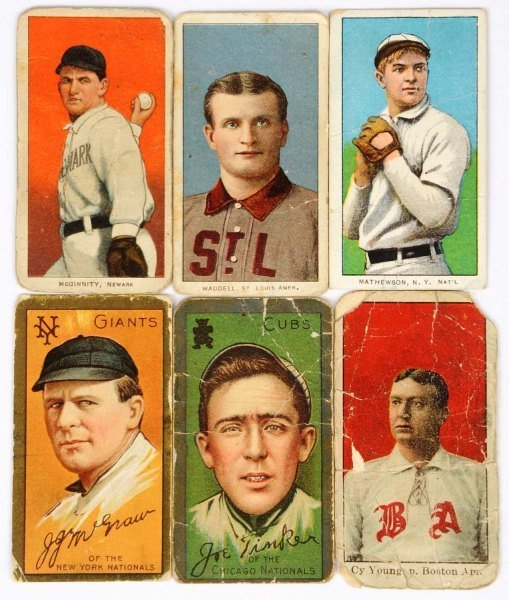 Lot of 6: T206 & T205Gold Border Baseball Cards.
