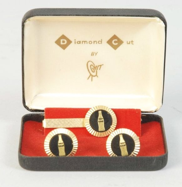 1960s-70s Coca-Cola Cuff Links & Tie Bar.