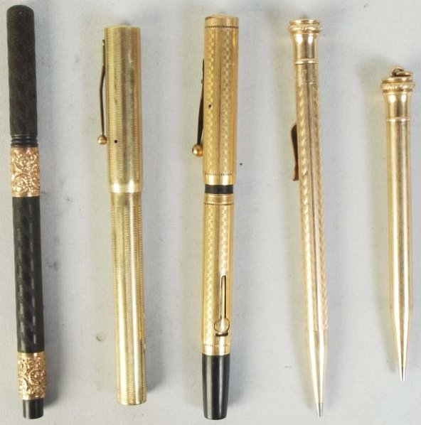 Lot of 5: Brass Pens.