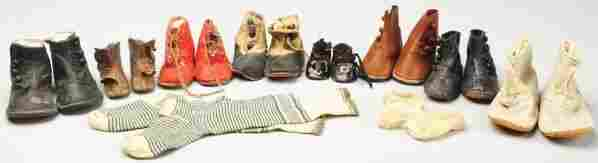 Lot of Antique Child & Doll Shoes.