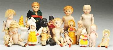 Lot of 17: Small All-Bisque Dolls.