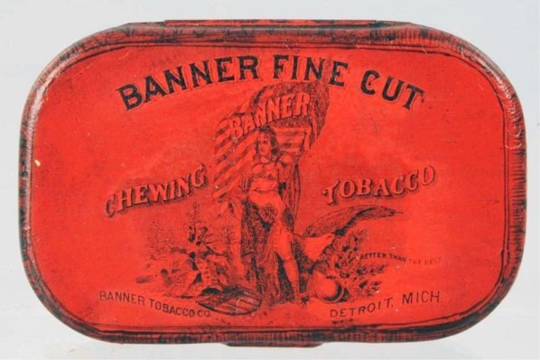Banner Fine Cut Chewing Tobacco Flat Pocket Tin.
