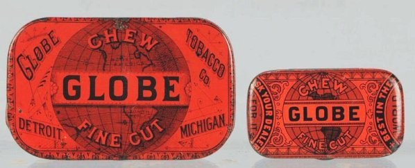 Lot of 2: Globe Fine Cut Chew Tobacco Tins.