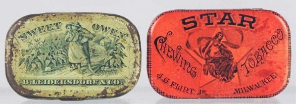 Lot of 2: Sweet Owen Flat Pocket Tobacco Tins.
