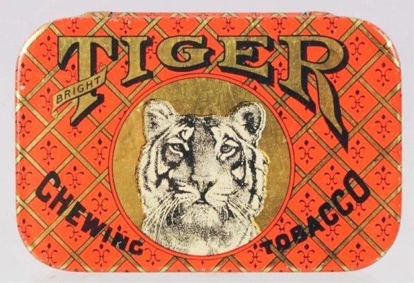 Tiger Chewing Tobacco Flat Pocket Tin.
