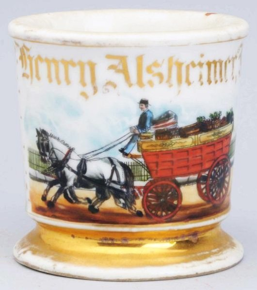 Horse-Drawn Produce Wagon Shaving Mug.
