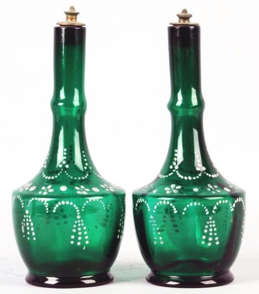Lot of 2: Teal Green Barber Bottles.