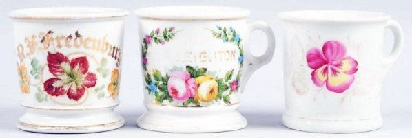 Lot of 3: Floral Shaving Mugs.