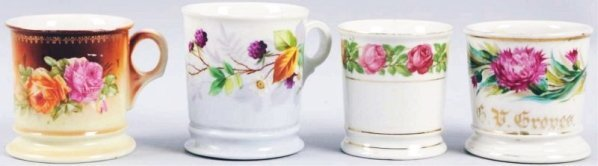 Lot of 4: Floral Shaving Mugs.