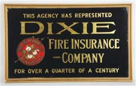 Dixie Fire Insurance Co Reverse on Glass Sign