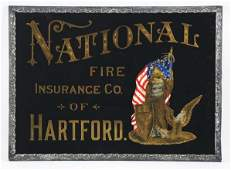 National Fire Insurance Co Reverse on Glass Sign