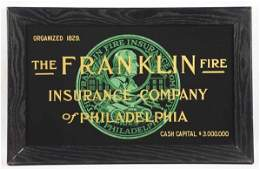 Franklin Fire Insurance Co Reverse on Glass Sign
