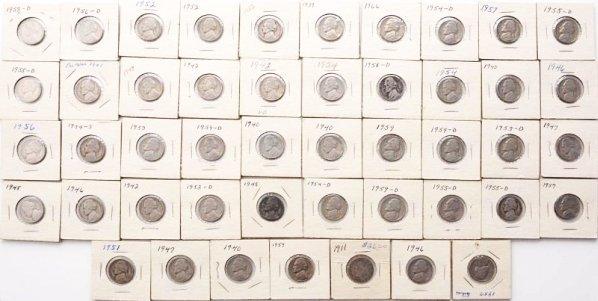 Lot of 46: Jefferson Nickels & 1 V Nickel.